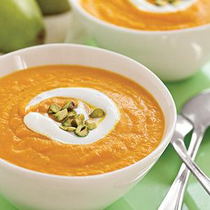Roasted Carrot-Pear Soup with Pistachios