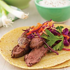 Steak Tacos with Red Cabbage Slaw