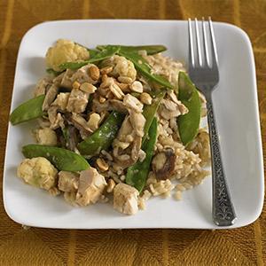 Peanutty Chicken Stir-Fry with Mixed Veggies
