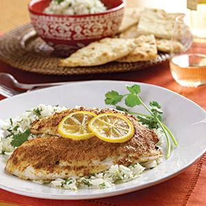 Indian-Spiced Tilapia with Cilantro Lime Rice