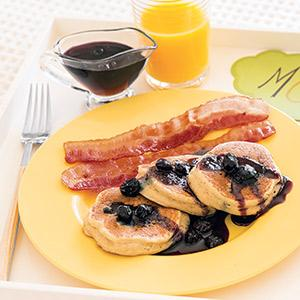 Blueberry-Ricotta Pancakes with Blueberry Maple Syrup