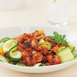 Zucchini Noodles with Chili Chicken Sauce