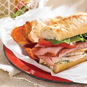 Turkey-Ham Baguette Sub with Herbed Mayo