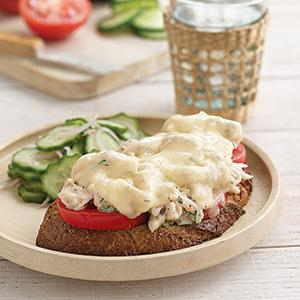 Beefsteak Tomato Crab Melts with Cucumber-Shallot Salad