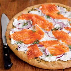 Flatbread with Dill, Smoked Salmon, and Lemon-Yogurt Sauce