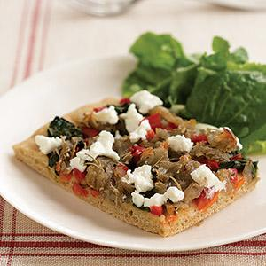 Sicilian-Style Pizza with Spinach, Rosemary Potatoes, and Goat Cheese