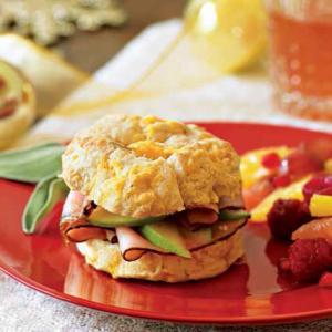 Golden Cheddar Biscuit Sandwiches with Cider-Glazed Ham
