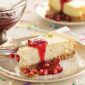 Lime Cheesecake with Pomegranate Sauce