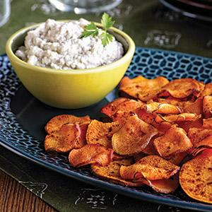 Roasted Garlic Dip with Baked Sweet Potato Chips