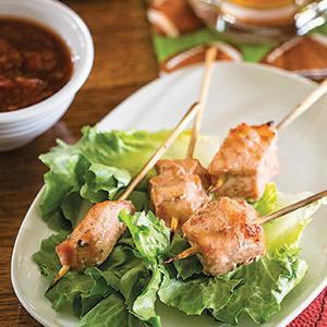 Raspberry-Lime Marinated Salmon Skewers