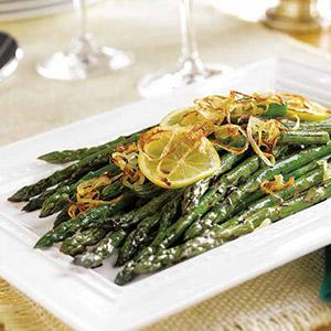 Pan-Braised Asparagus with Crispy Shallots