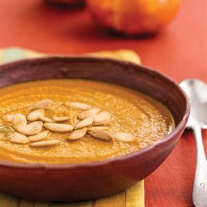 Roasted Pumpkin-Shallot Soup with Toasted Pumpkin Seeds