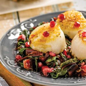 Seared Scallops with Chard and Pomegranates