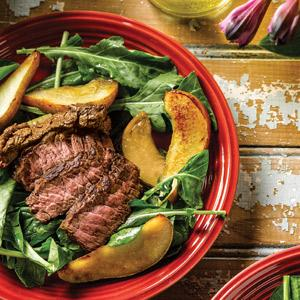 Sirloin Salad with Caramelized Pears and Almond Vinaigrette