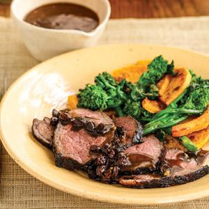 Steak with Roasted Butternut Squash and Broccoli Rabe