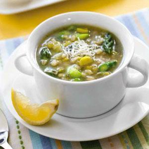 Asparagus, Barley, and Lemon Soup