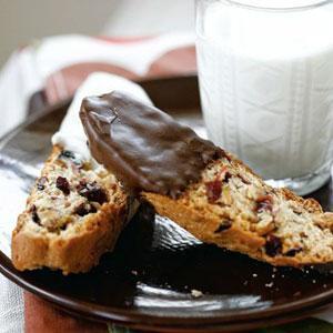 Chocolate-Dipped Cranberry Pistqachio Biscotti