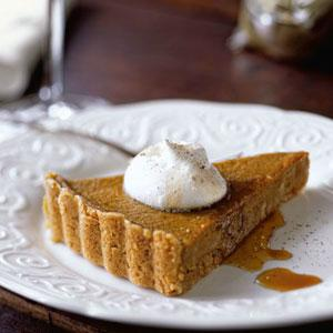 Maple Pumpkin Tart with Cinnamon Shortbread Crust