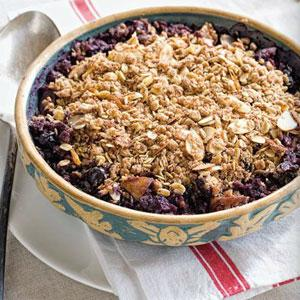 Nutty Blueberry and Pear Crisp
