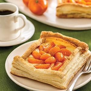 Warm Clementine Tarts with Vanilla Custard