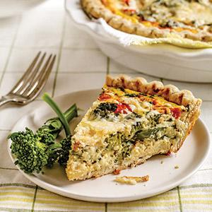 Broccolini Cheddar Quiche