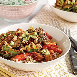 Spicy Thai Beef Stir-fry With Brown Rice