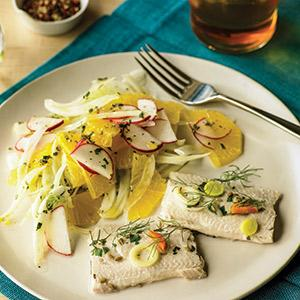 Poached Trout with Fennel Salad