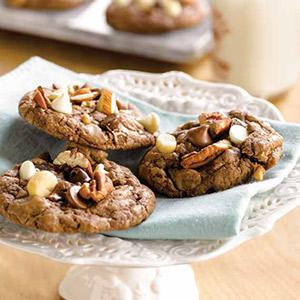 Triple Chocolate Chip And Mixed Nut Cookies