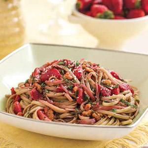 Walnut-Thyme Linguine with Sauteed Strawberries