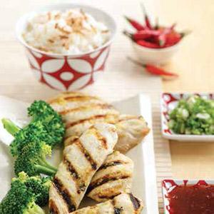 Sweet Chili Grilled Chicken with Coconut Rice
