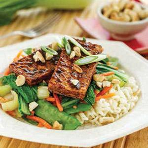 Glazed Tofu Steaks with Vegetable Stir-fry
