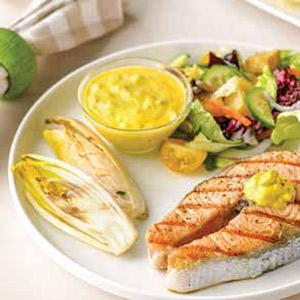 Grilled Salmon and Endives with Turmeric-Shallot Sauce