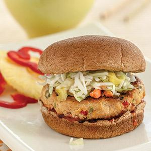 Sweet and Sour Pork Burgers with Asian Slaw