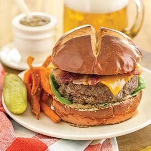 Beef and Beer Pretzel Burgers