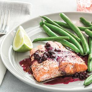 Salmon with Lime-,-Wild Blueberry Sauce