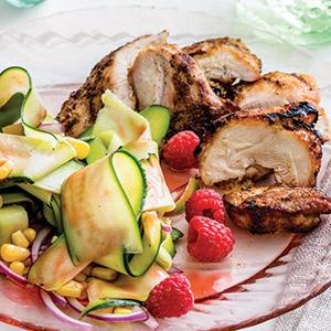 Grilled Chicken with Zucchini and Raspberry Salad
