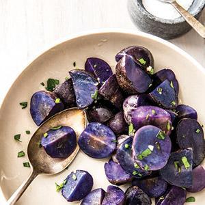 Crispy Herb-Roasted Blue Potatoes
