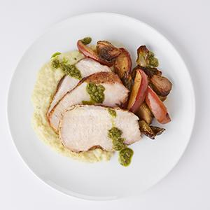Roasted Pork and Brussels Sprouts with Pesto Polenta