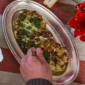 "Roasted Cauliflower ""Steaks"" With Kale Salsa Verde"