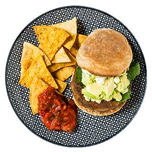 Sweet Potato-Black Bean Burgers with Chips and Salsa