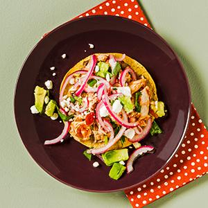 Chicken and Black Bean Tostadas with Pickled Onion Slaw