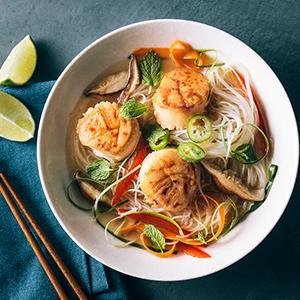 Scallops with Thai-Style Coconut Broth and Rice Noodles