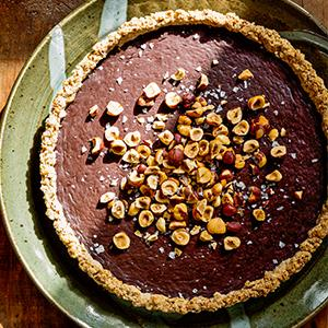 Chocolate Ganache Tart with Hazelnut Crust