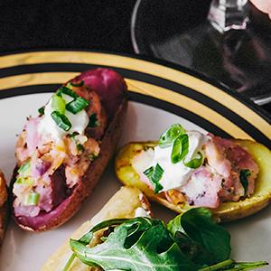 Twice-Baked Fingerling Potatoes with Smoked Salmon