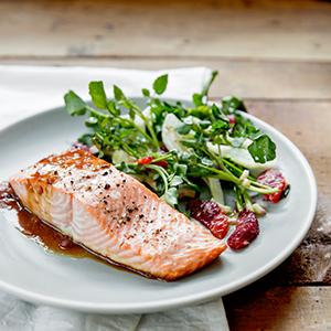 Roasted Salmon with Blood Orange-Champagne Sauce