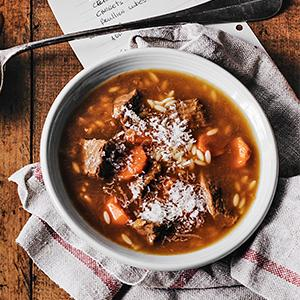 Hearty Beef Soup with Orzo