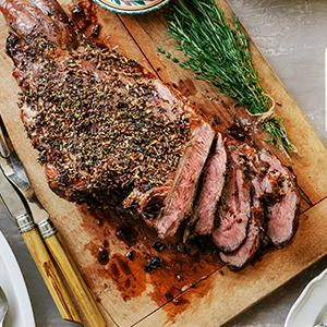 Herb-Roasted Leg of Lamb with Lemon-Cream Sauce