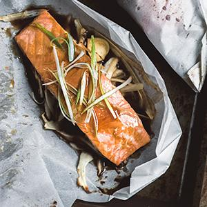 Parchment-Baked Salmon and Parsnips with Maple-Soy Glaze