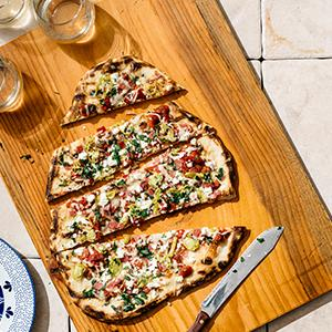 Grilled Salami, Pepperoncini, and Feta Pizza