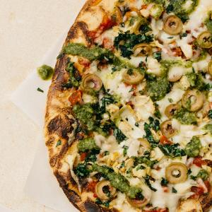 Grilled Artichoke, Green Olive, and Pesto Pizza